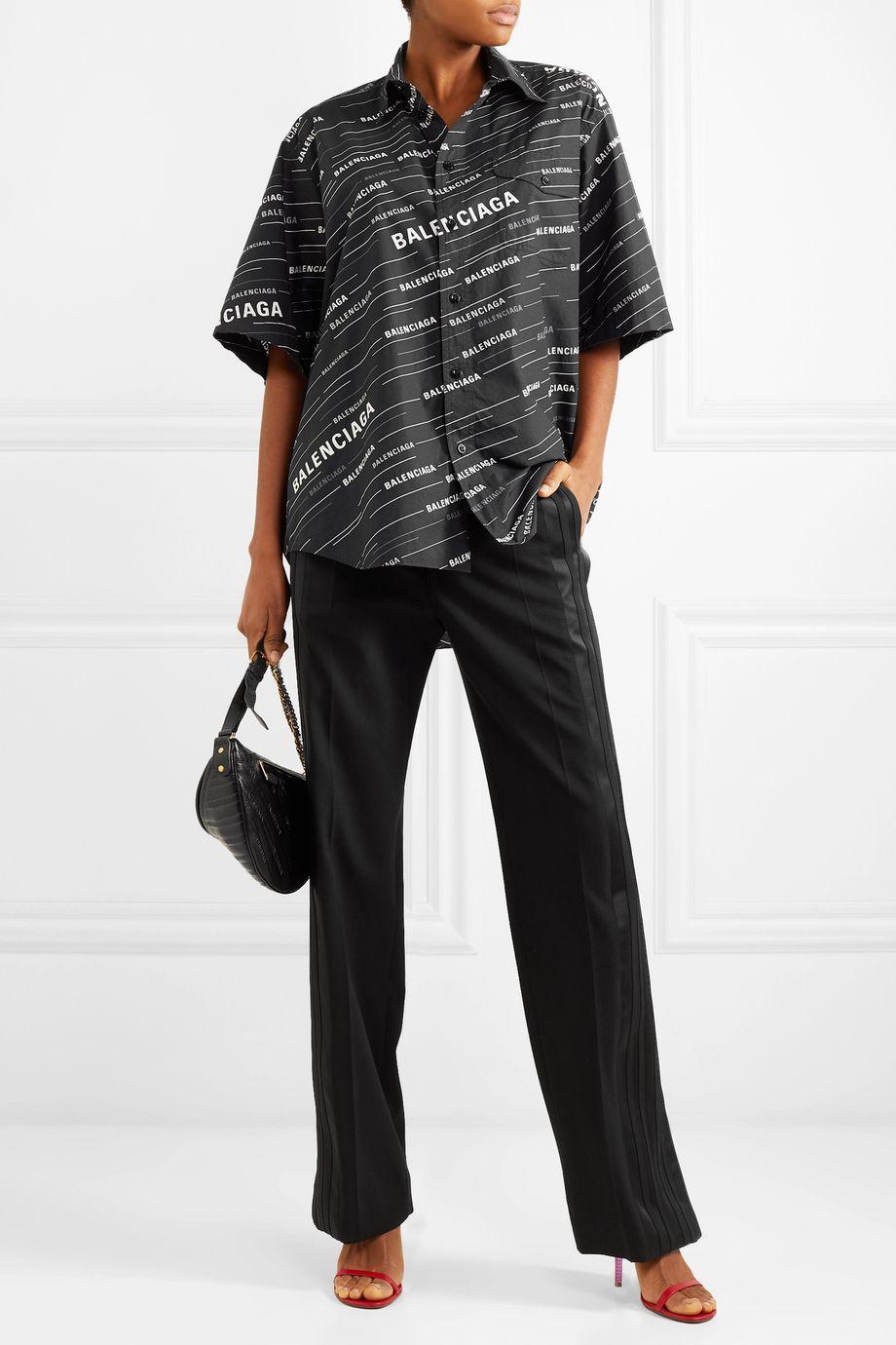 Balenciaga Pantalon droit en crêpe à finitions en satin