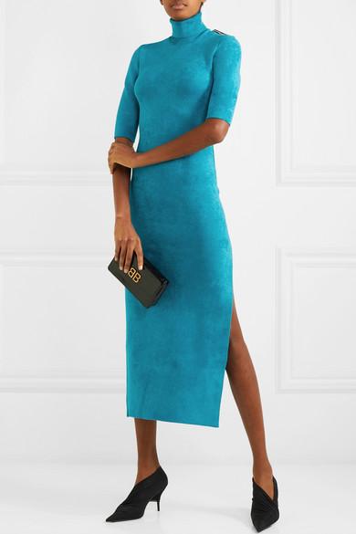 Balenciaga Tops Stretch-velvet turtleneck midi dress