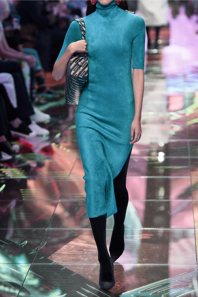 da01ad1a89f Balenciaga. Stretch-velvet turtleneck midi dress.  1