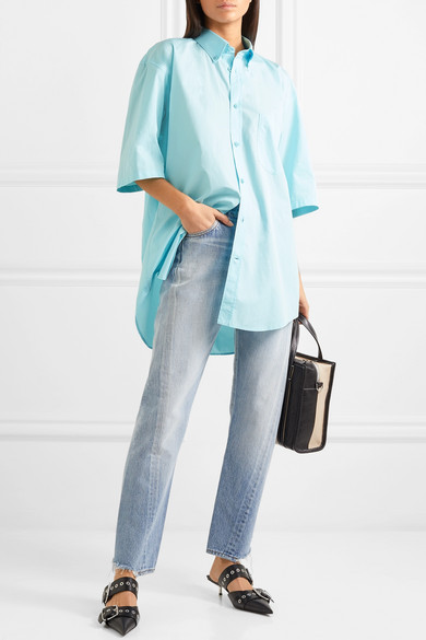 Balenciaga Shirts Oversized printed cotton-poplin shirt