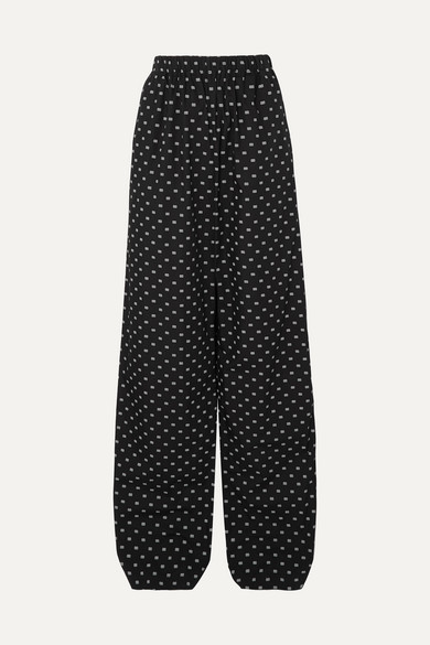 Balenciaga Pants Printed cotton-poplin wide-leg pants