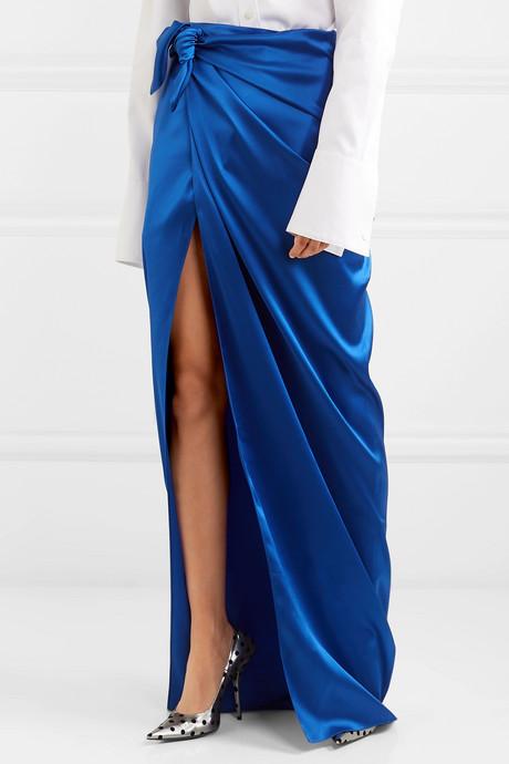 Satin wrap maxi skirt