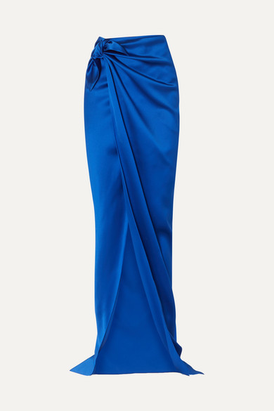 Satin wrap maxi skirt