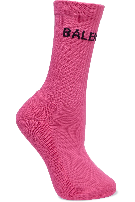 Pink Intarsia ribbed cotton-blend socks