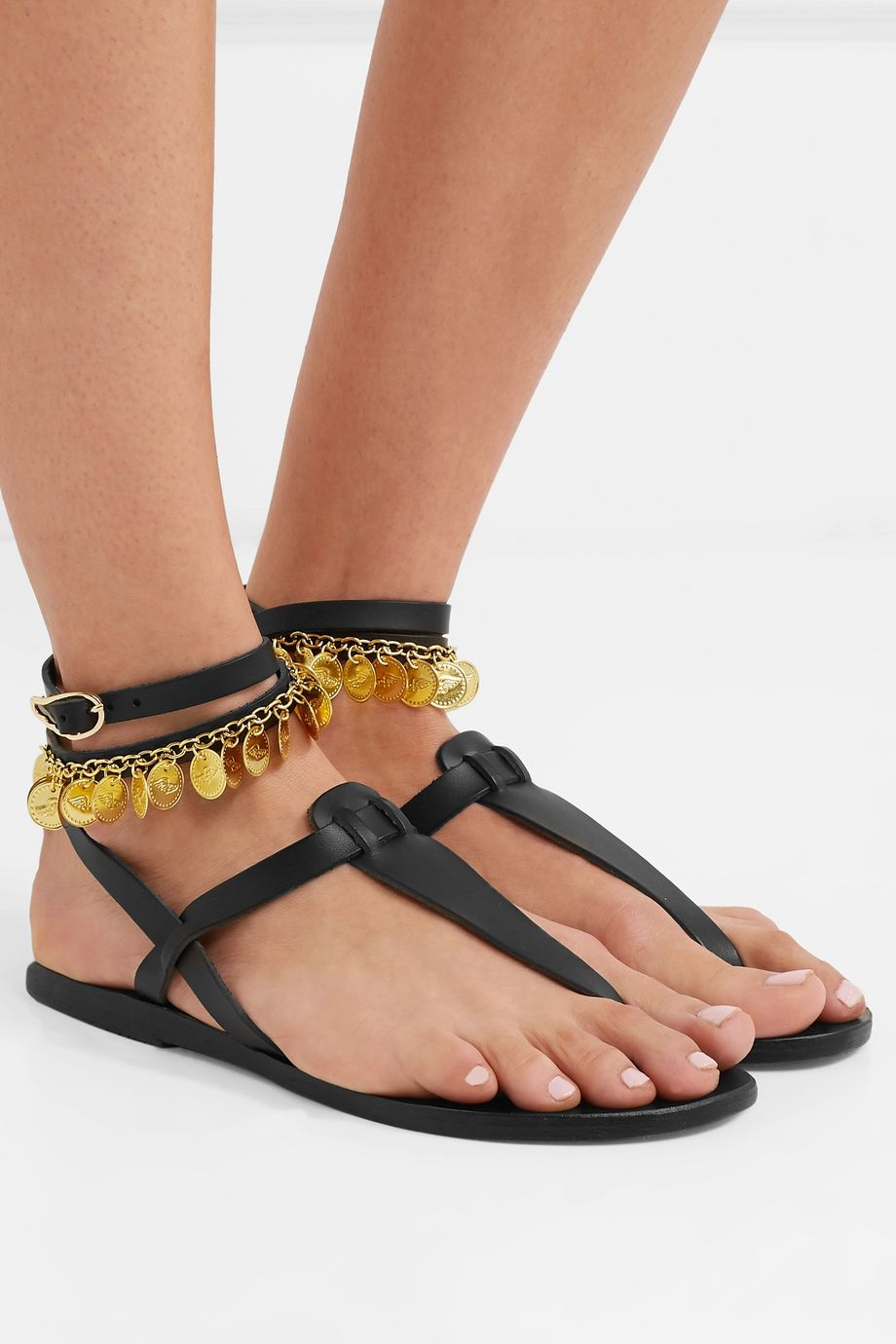 Ancient Greek Sandals Estia Flouria embellished leather sandals