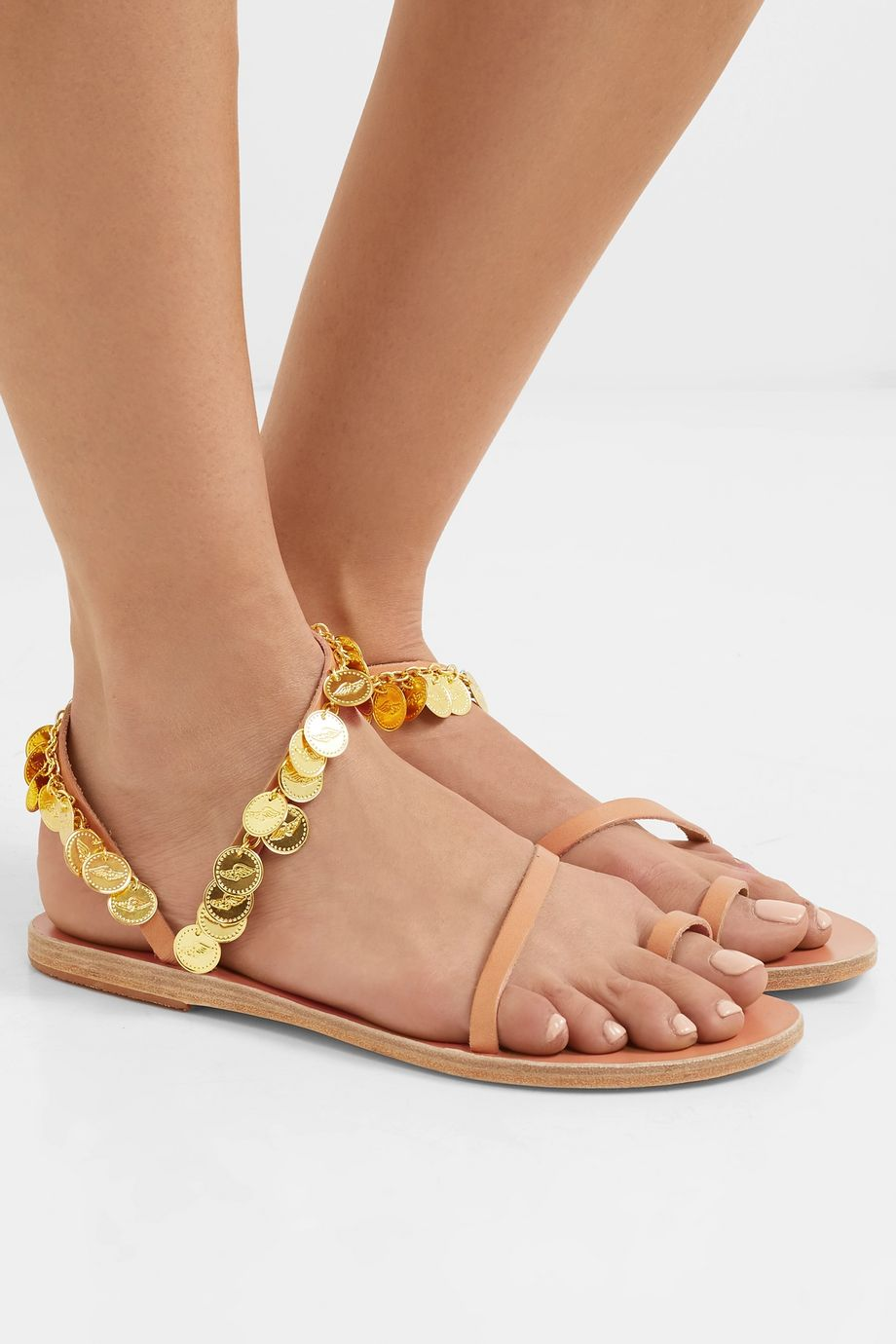 Ancient Greek Sandals Apli Eleftheria embellished leather sandals