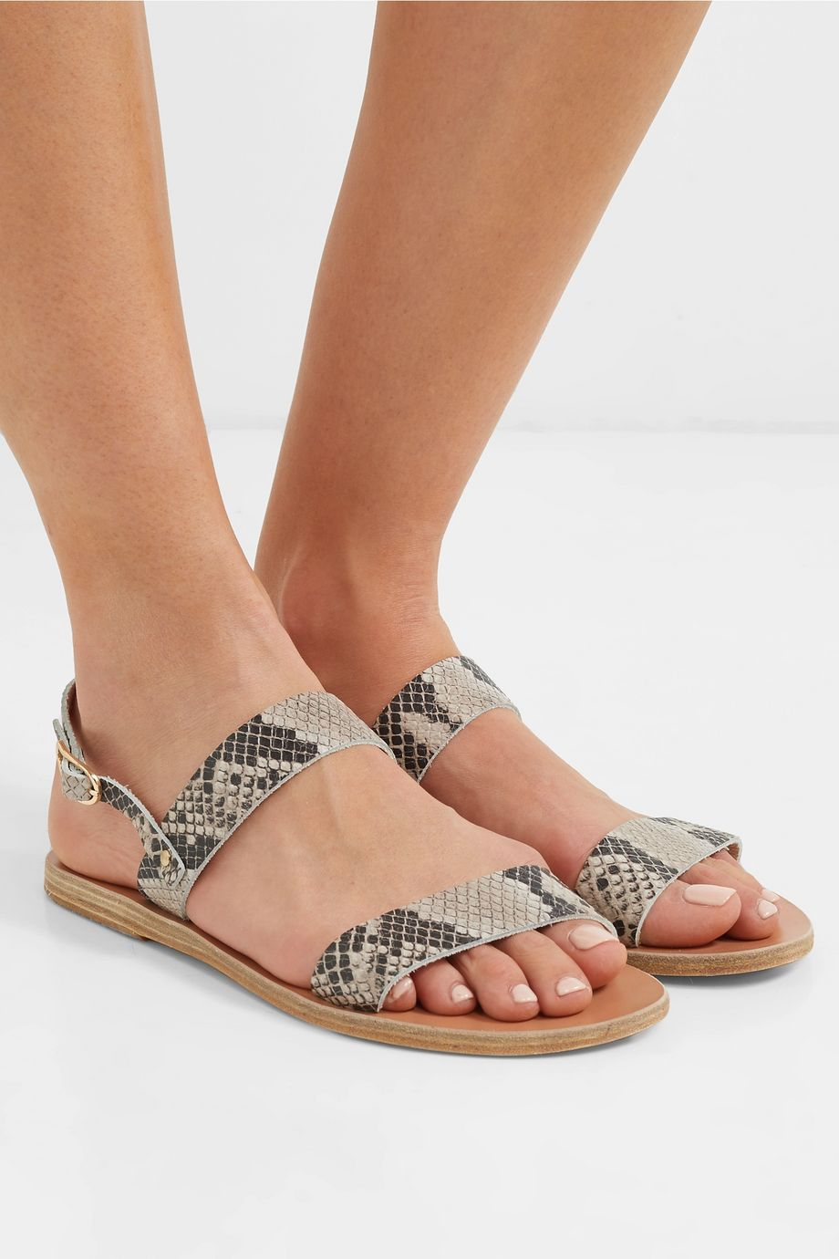 Ancient Greek Sandals Clio snake-effect leather sandals