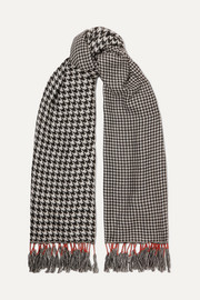 rag & bone Fringed houndstooth woven scarf