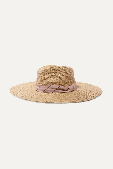 Rag & Bone Linen-Blend Trimmed Raffia Panama Hat In Pink