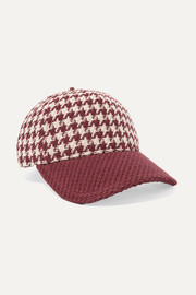 Marilyn leather-trimmed houndstooth cotton-tweed baseball cap