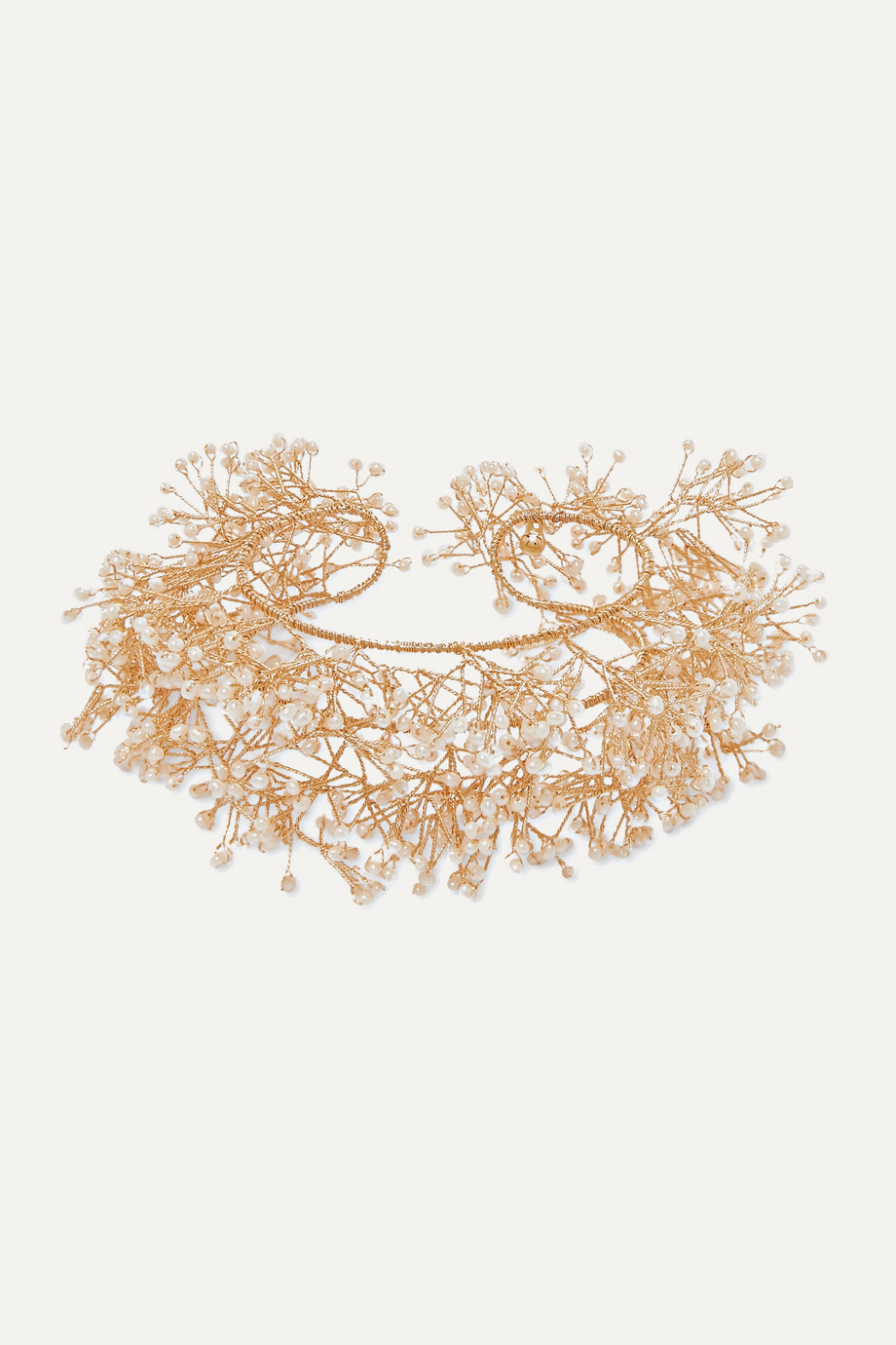 14 / Quatorze Baby's breath gold-plated pearl cuff