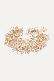 Baby's breath gold-plated pearl cuff