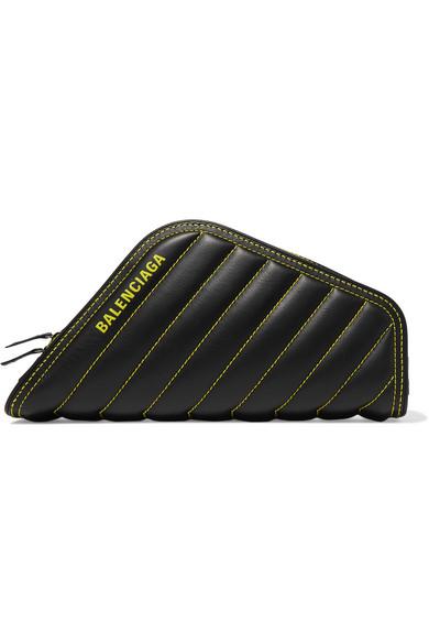 BALENCIAGA | Balenciaga - Car Printed Quilted Leather Clutch - Black | Goxip