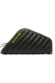 Car printed quilted leather clutch