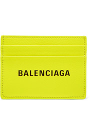 Everyday printed neon textured-leather cardholder