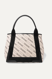 Cabas small leather-trimmed canvas tote