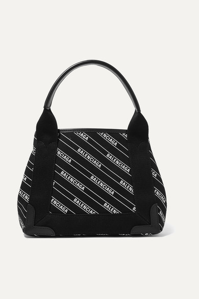 Balenciaga Cabas Xs Aj Leather-Trimmed Printed Canvas Tote In Black