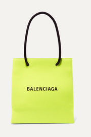 XXS printed neon textured-leather tote