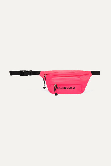 Balenciaga Wheel Embroidered Canvas Belt Bag In Pink