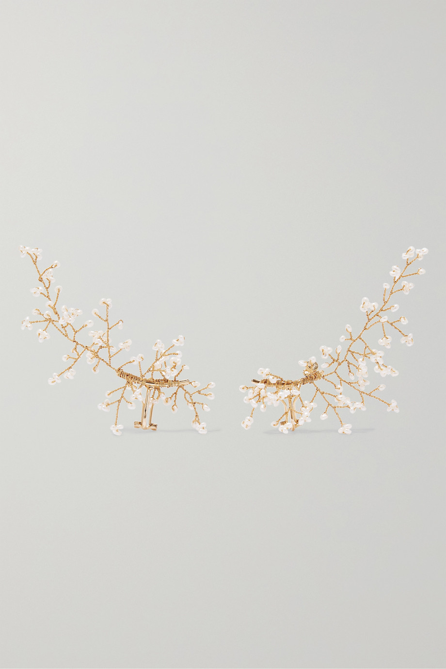 14 / Quatorze Baby's Breath gold-plated pearl ear cuffs