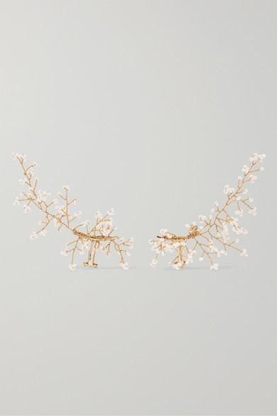14 / Quatorze - Baby's Breath Gold-plated Pearl Ear Cuffs - White