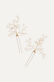 Baby's Breath set of two gold-tone pearl hair pins