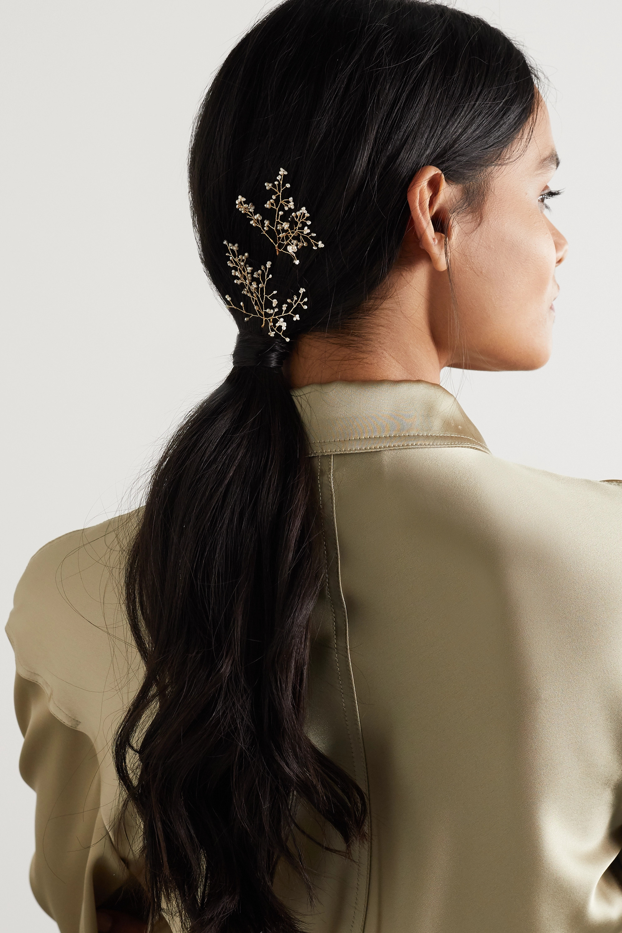 14 / Quatorze Baby's Breath set of two gold-tone pearl hair pins