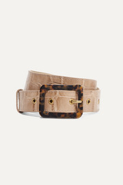 STAUD Croc-effect leather belt