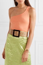 STAUD Croc-effect leather waist belt