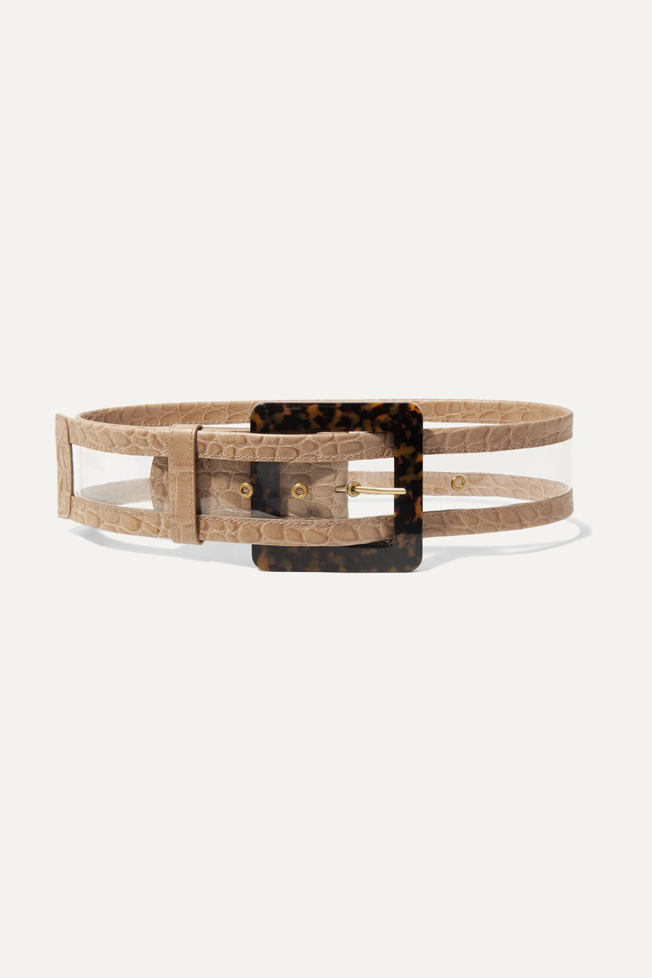STAUD Croc-effect leather-trimmed PVC waist belt