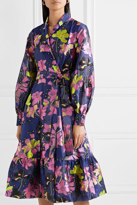 Niki floral-jacquard wrap dress