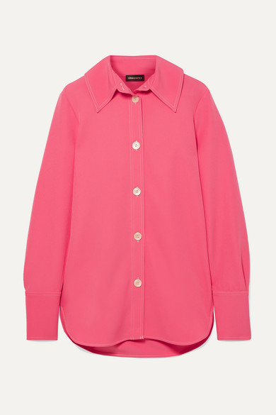 Stine Goya James Contrast-stitched Crpee Shirt In Pink