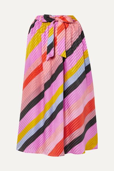 Stine Goya Audrey Striped Silk-jacquard Midi Skirt In Pink