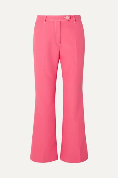 Stine Goya Bob Cropped Crepe Straight-leg Pants In Pink