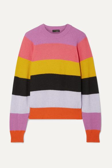 Stine Goya Magdalena Colorblock Striped Crewneck Sweater In Pink