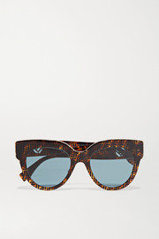 Oversized printed D-frame acetate sunglasses