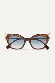 Crystal-embellished cat-eye printed tortoiseshell acetate sunglasses