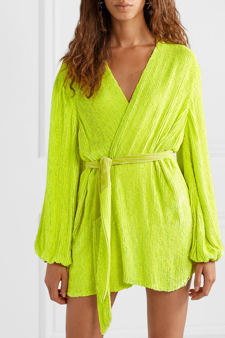 Gabrielle neon velvet-trimmed sequined chiffon mini wrap dress