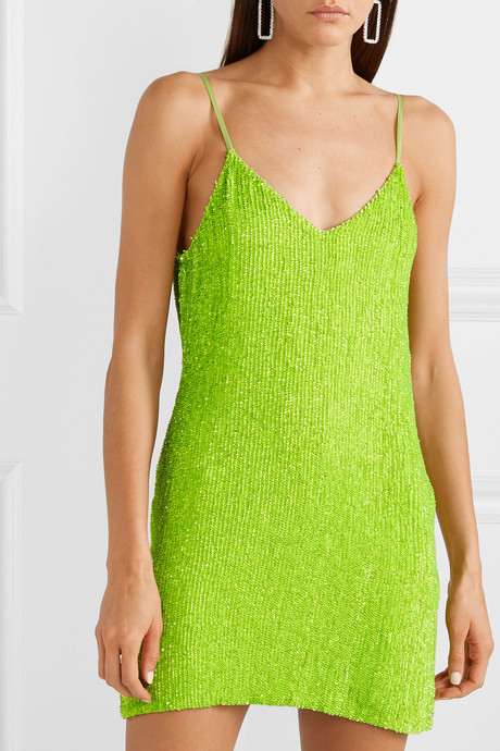 Claire neon sequined chiffon mini dress