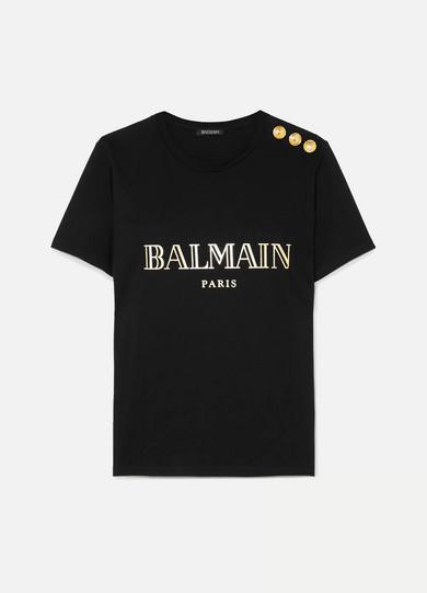 BALMAIN | Balmain - Button-embellished Printed Cotton-jersey T-shirt - Black | Goxip
