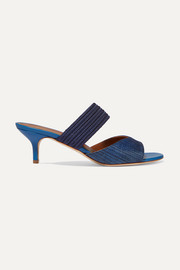 Malone Souliers Rodena 45 cord-trimmed canvas and leather mules