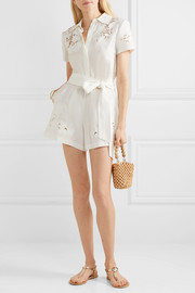 Lanna guipure lace-trimmed Lyocell and linen-blend playsuit