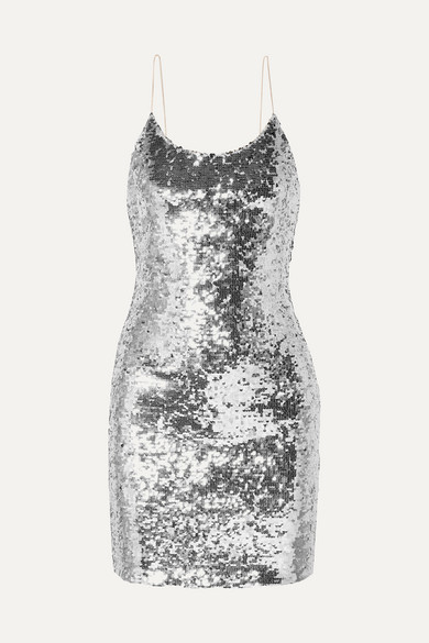 ALICE + OLIVIA | Alice + Olivia - Giselle Sequined Tulle Mini Dress - Silver | Goxip