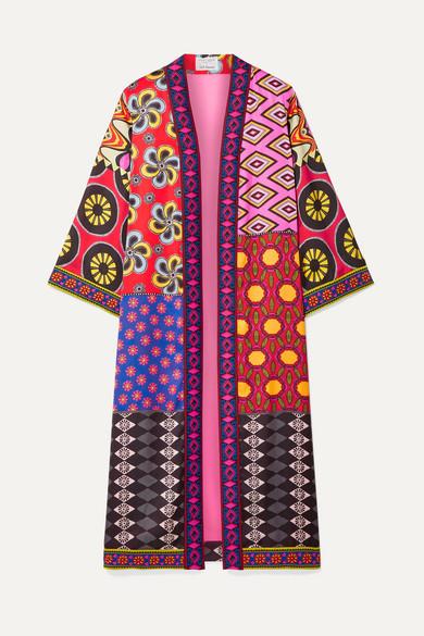 ALICE + OLIVIA | Alice + Olivia - Lynn Jacquard-Trimmed Printed Crepe De Chine Kimono - Red | Goxip