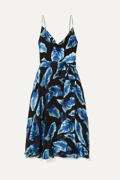 ALICE + OLIVIA | Alice + Olivia - Nan Wrap-Effect Fil Coupé Chiffon Dress - Navy | Goxip
