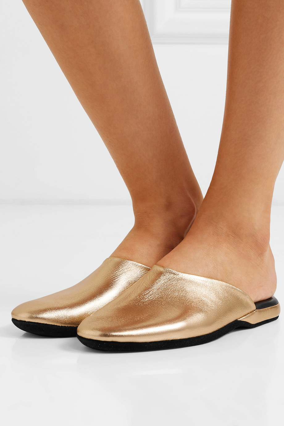 Charvet Metallic textured-leather slippers