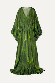 Draped printed silk-charmeuse gown