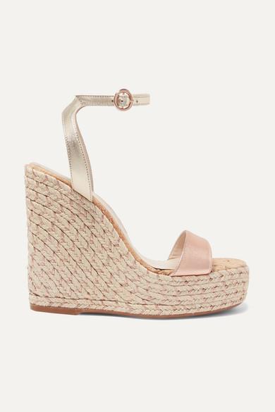 SOPHIA WEBSTER | Sophia Webster - Lucita Metallic Leather Espadrille Wedge Sandals - IT36.5 | Goxip
