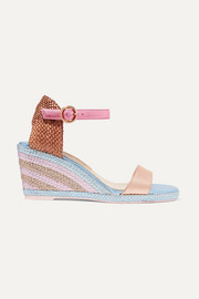 Lucita metallic satin espadrille wedge sandals