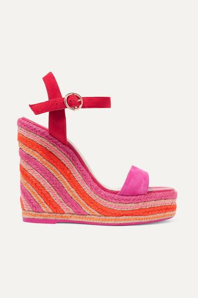 SOPHIA WEBSTER | Sophia Webster - Lucita Suede Espadrille Wedge Sandals - Fuchsia | Goxip
